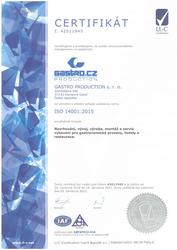 Certifikát ISO 14001:2015