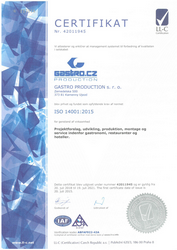 Certifikat ISO 14001:2015